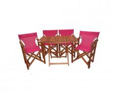Σετ ξύλινο τραπέζι και 4 πολυθρόνες σκηνοθέτη