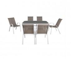 Ray σετ (τραπέζι - 6 πολυθρόνες) μεταλλικό άσπρο