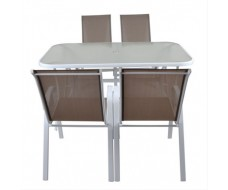 Zoe τραπεζαρία (τραπέζι + 4 πολυθρόνες)