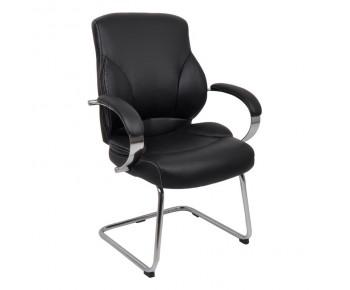 BF5300V Πολυθρόνα Γραφείου Επισκέπτη, Μέταλλο Χρώμιο, Pu Μαύρο