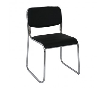 CAMPUS Καρέκλα Επισκέπτη Γραφείου - Στοιβαζόμενη Χρώμιο Μέταλλο - Hard PVC Μαύρο