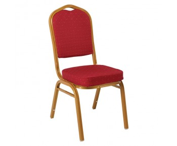 HILTON Καρέκλα Μέταλλο Βαφή  Gold - Ύφασμα Κόκκινο