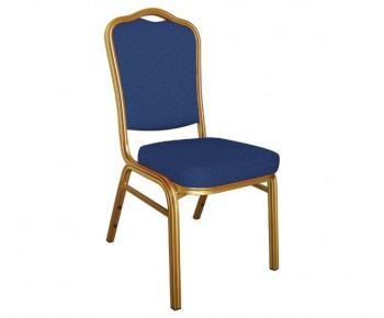 HILTON Καρέκλα Μέταλλο Gold Ύφασμα, Ύφασμα Μπλε