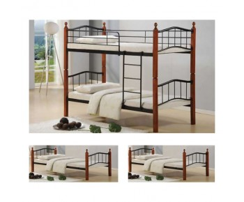 BUTTON Κρεβάτι Κουκέτα Μέταλλο Βαφή Μαύρο - Ξύλο Καρυδί