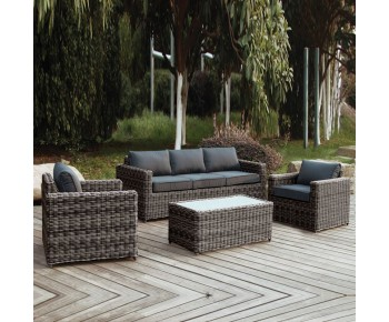 ARIZONA Set Σαλόνι Κήπου : 3Θέσιος +2 Πολυθρόνες +Τραπέζι Wicker Grey Brown- Μαξ.Ανθρακί