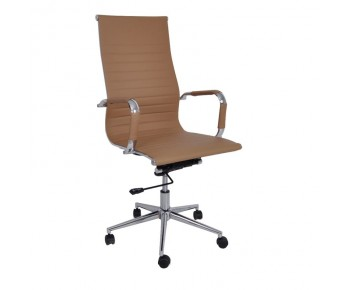 BF3300 Πολυθρόνα Γραφείου Διευθυντή Μέταλλο Βάση Χρώμιο PU Μπεζ