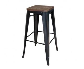 RELIX Wood Σκαμπό BAR, Μέταλλο Βαφή Μαύρο, Απόχρωση Ξύλου Dark Oak, Στοιβαζόμενο
