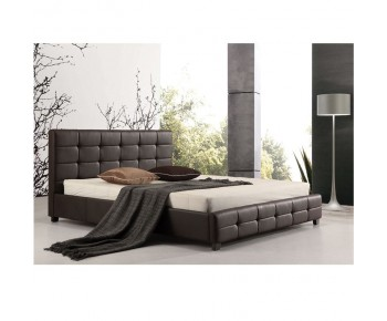 FIDEL Κρεβάτι Διπλό για Στρώμα 160x200cm, PU Σκούρο Καφέ