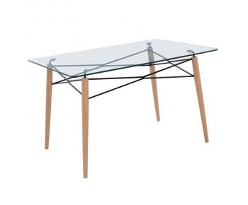 ART Wood Τραπέζι Κουζίνας Τραπεζαρίας Ξύλο - Γυαλί