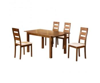 MILLER Set Τραπεζαρία Κουζίνας Ξύλινη: Επεκτεινόμενο Τραπέζι+ 4 Καρέκλες Honey Oak-PVC Εκρού