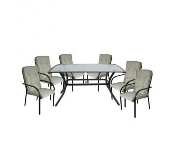ASTOR Set Τραπεζαρία Κήπου : Τραπέζι + 6 Πολυθρόνες Μέταλλο Ανθρακί, Γυαλί, Μαξιλάρι Μπεζ