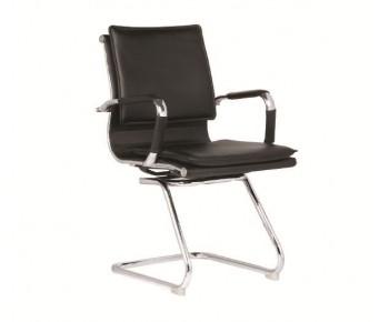 BF3600V Πολυθρόνα Γραφείου Επισκέπτη, Μέταλλο Βάση Χρώμιο - PU Μαύρο