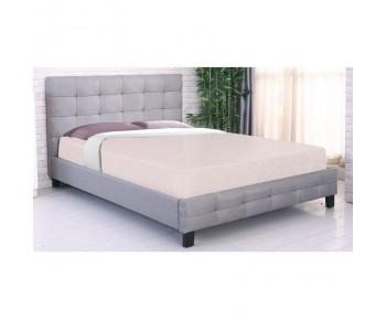 FIDEL Κρεβάτι Διπλό για Στρώμα 160x200cm, Ύφασμα Γκρι