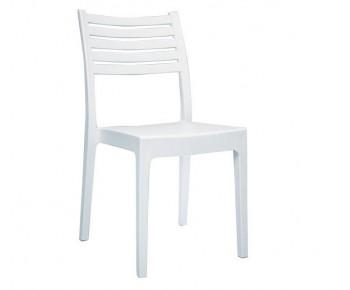 OLIMPIA Καρέκλα Στοιβαζόμενη, Πλαστικό Άσπρη