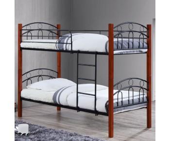 NORTON Κρεβάτι Κουκέτα Μέταλλο Βαφή Μαύρο - Ξύλο Καρυδί