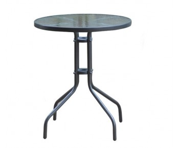 BALENO Τραπέζι Κήπου - Βεράντας, Μέταλλο Βαφή Γκρι, Γυαλί Tempered