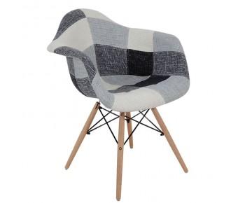 ALEA Wood Πολυθρόνα Ξύλο, PP Ύφασμα Patchwork Black & White