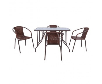 BALENO Set Τραπεζαρία Κήπου : Τραπέζι + 4 Πολυθρόνες Μέταλλο Καφέ - Wicker Brown