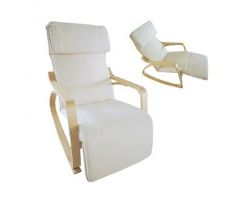 HAMILTON Super Relax Πολυθρόνα Σαλονιού - Καθιστικού, Σημύδα, Ύφασμα Άσπρο
