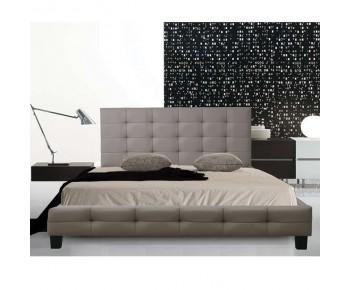 FIDEL Κρεβάτι Διπλό για Στρώμα 160x200cm, PU Απόχρωση Cappuccino