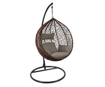 ISABEL Κρεμαστή Πολυθρόνα Σκούρο Γκρι - Καφέ, Μαξιλάρι Καφέ