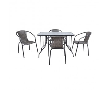 BALENO Set Τραπεζαρία Κήπου : Τραπέζι + 4 Πολυθρόνες Μέταλλο Γκρι - Wicker Mixed Grey