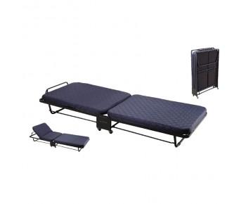 PARKER Κρεβάτι Σπαστό - Βοηθητικό με Ροδάκια / Στρώμα 6,5cm / Μέταλλο Βαφή Μαύρο