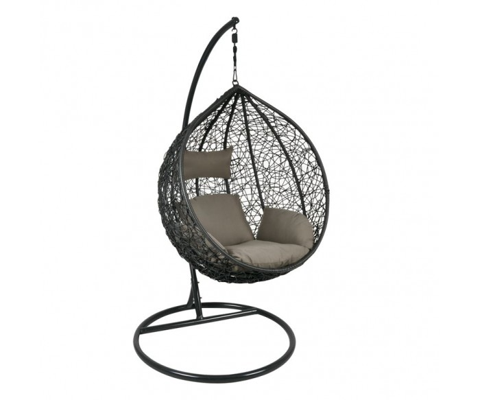 ISABEL Κρεμαστή Πολυθρόνα Σκούρο Γκρι, Μαξιλάρι Καφέ