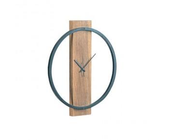 CLOCK-1 Ρολόι Τοίχου Μέταλλο Βαφή Μαύρο, Ξύλο Ακακία Φυσικό