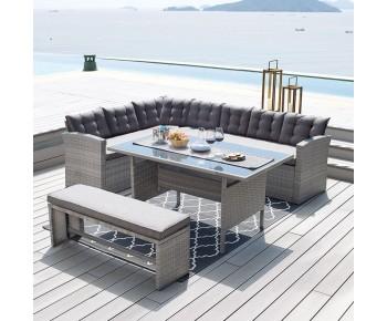 CENTER Set Σαλόνι - Καθιστικό Τραπεζαρία Κήπου - Βεράντας Μέταλλο-Wicker Γκρι+ Μαξιλάρια