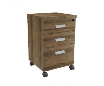 ALPINE Συρταριέρα Γραφείου Τροχήλατη, 3 Συρτάρια, Απόχρωση Brown Oak