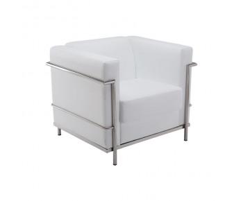 GENOVA Πολυθρόνα Σαλονιού Καθιστικού Ιnox - Pu Άσπρο