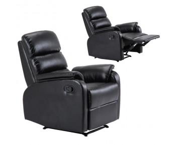 COMFORT Πολυθρόνα Relax Σαλονιού - Καθιστικού, PU Μαύρο