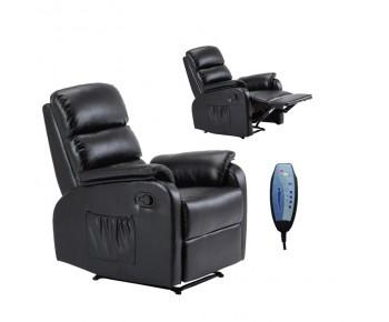 COMFORT Massage Πολυθρόνα Relax, Σαλονιού - Καθιστικού, PU Μαύρο