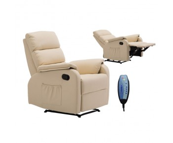 COMFORT Massage Πολυθρόνα Relax, Σαλονιού - Καθιστικού, PU Μπεζ