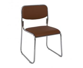 CAMPUS Καρέκλα Επισκέπτη Γραφείου - Στοιβαζόμενη Χρώμιο Μέταλλο - Soft Pu Καφέ