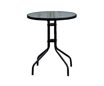 BALENO Τραπέζι Κήπου - Βεράντας, Μέταλλο Βαφή Μαύρο, Γυαλί Tempered