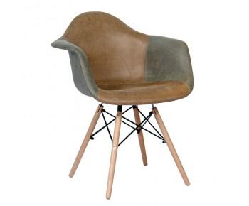 ALEA Wood Πολυθρόνα Ξύλο - PP Ύφασμα Patchwork Γκρι - Καφέ