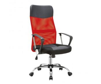 BF2400-PVC Πολυθρόνα Διευθυντή Βάση Χρώμιο, Pvc - Mesh Κόκκινο - Μαύρο