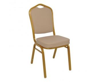 HILTON Καρέκλα Μέταλλο Βαφή Gold - Pu Cappuccino