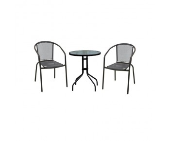 BALENO Set Κήπου - Βεράντας : Τραπέζι + 2 Πολυθρόνες Μέταλλο Μαύρο - Textilene Γκρι