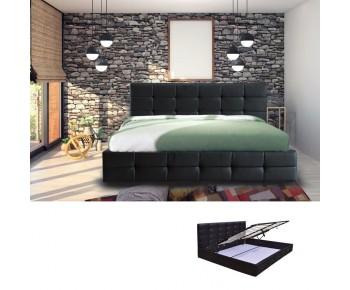FIDEL Κρεβάτι Διπλό με Αποθηκευτικό Χώρο, για Στρώμα 160x200cm, PU Μαύρο