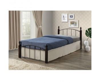 ARAGON Κρεβάτι Μονό Μέταλλο Βαφή Μαύρο - Ξύλο Καρυδί
