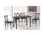 LUGO Set Τραπεζαρία Κουζίνας Σαλονιού Τραπέζι + 4 Καρέκλες Μέταλλο Bronze / Καρυδί