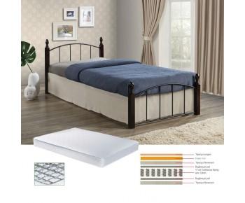 ARAGON Set Κρεβάτι Μονό Μαύρο - Καρυδί + Στρώμα Continuous Spring