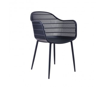 BERRY Πολυθρόνα Μέταλλο Βαφή Μαύρο, PP-UV Μαύρο
