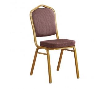 HILTON Καρέκλα Μέταλλο Βαφή Gold - Ύφασμα Καφέ