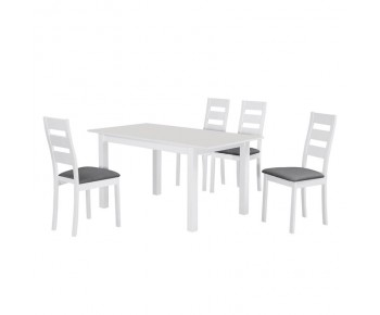 MILLER Set Τραπεζαρία Κουζίνας Άσπρο-Ύφασμα Γκρι : Τραπέζι Επεκτεινόμενο + 4 Καρέκλες