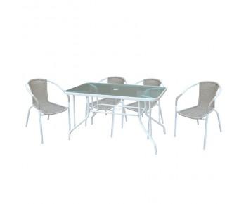 BALENO Set Τραπεζαρία Κήπου : Τραπέζι + 4 Πολυθρόνες Μέταλλο Βαφή Άσπρο - Wicker Beige