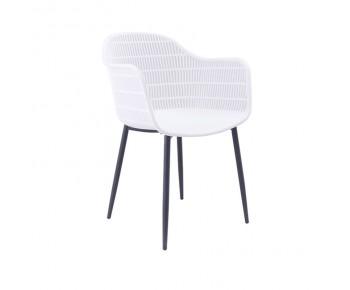 BERRY Πολυθρόνα Μέταλλο Βαφή Μαύρο, PP-UV Λευκό